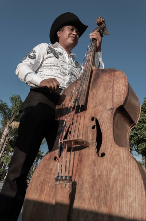 "Bass player performing ""Las Mañanitas"" in Chapala, Jalisco."