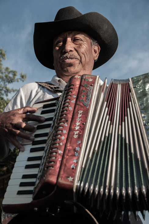 "Accordion player in Chapala, Jalisco, playing ""Las Mañanitas."""