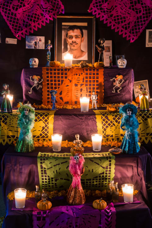 On of the many Day of the Dead altars on the street for friends and family in Ajijic, Jalisco, Mexico.