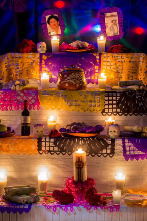 An altar in Chapala, Jalisco, on Noche de Muertos (November 2).