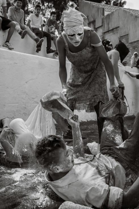 Zayaca flour attack in the town bullring.