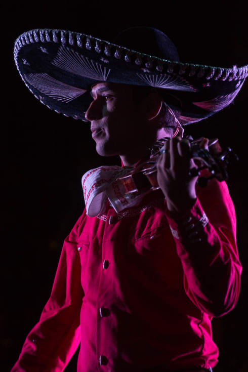 Mariachi violinist in Jalisco, Mexico, during a performance on September 16 (Mexican Independence Day).