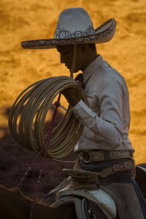 A cowboy demonstrates his roping skills on the Day of the Cowboy in Ajijic, Jalisco, Mexico.
