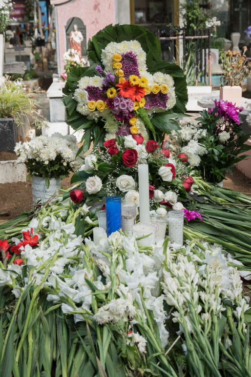 A tomb with fresh flowers, Oaxaca City, Oaxaca.