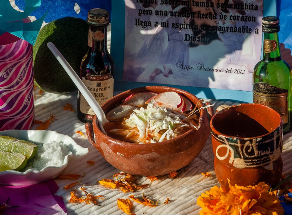 A bowl of pozole left on an altar for the deceased on the Day of the Dead in Ajijic, Jalisco, Mexico.