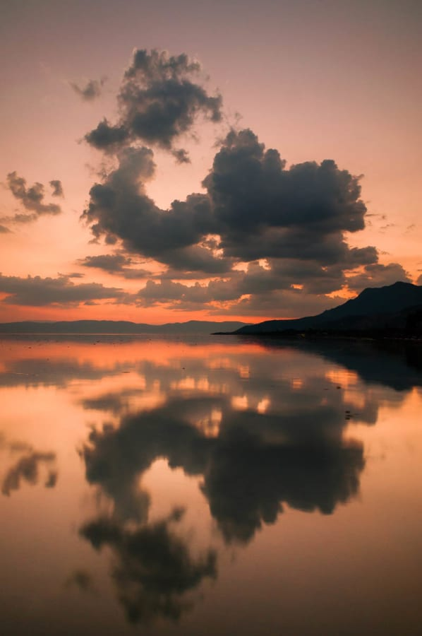 Clouds reflected on surface of Lake Chapala.