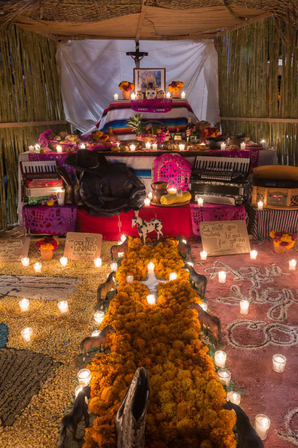 An altar for Lupe Tijerina of Los Cadetes de los Linares, a famous Mexican band formed in 1960.