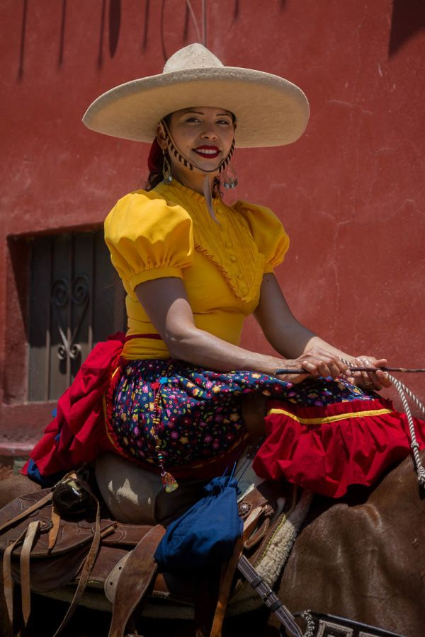 Escaramuza Charra during the September 11 Day of the Cowboy in Ajijic, Jalisco, Mexico
