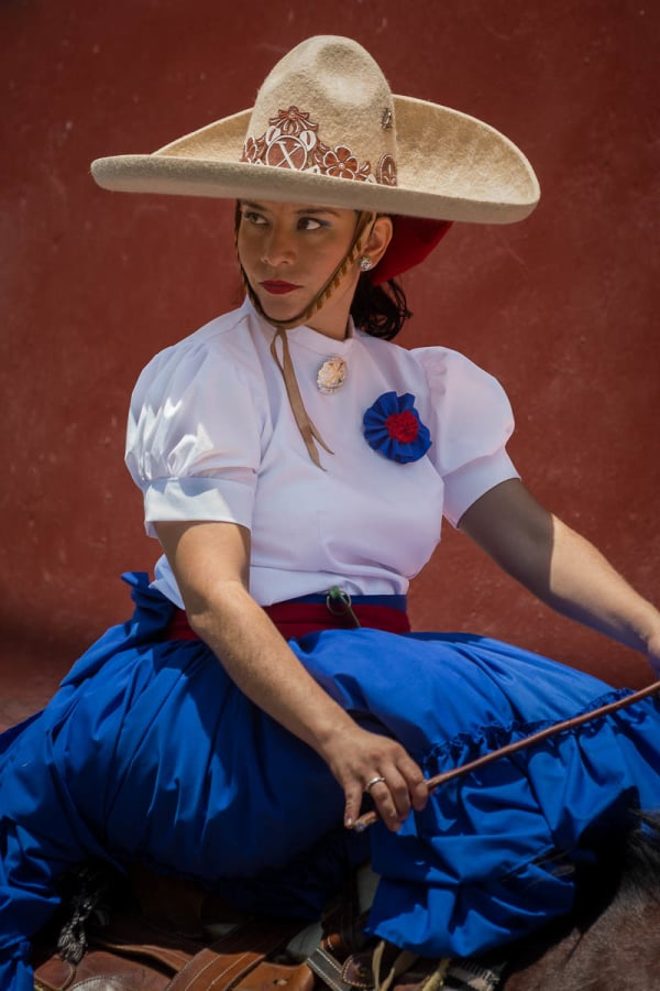 Viridiana García Mariscal, an escaramuza during a parade in Mexico.