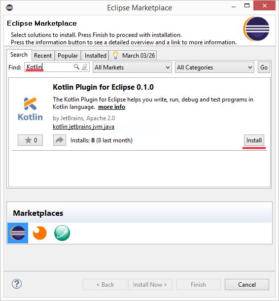 Cài đặt Kotlin cho Eclipse IDE