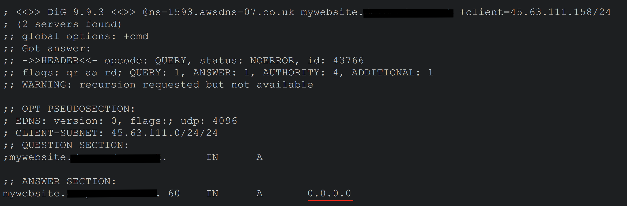 DNS Query with American IP Address