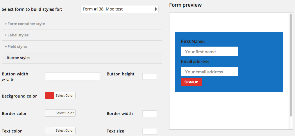 Designing form styles in the WordPress admin