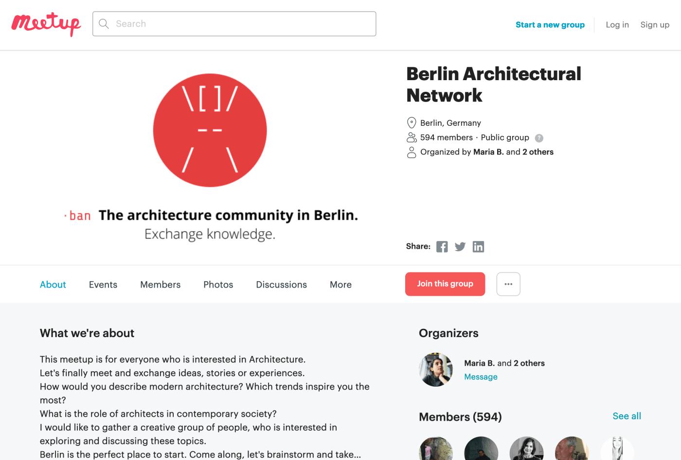 Screenshot of Berlin Architectural Network on meetup.com