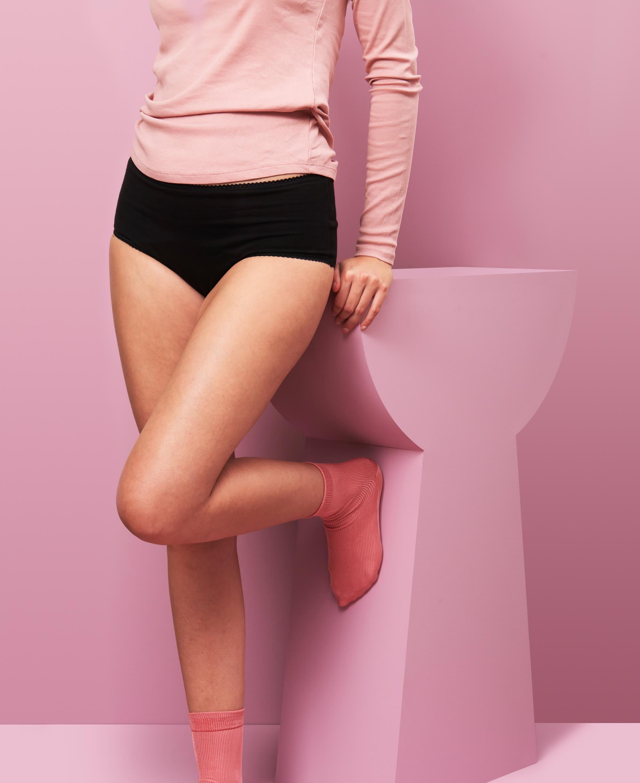 culotte menstruelle taille haute unie noire taille XL - adossée