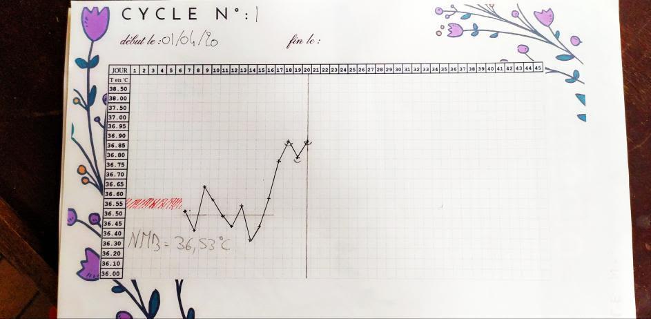 Exemple d'un tableau de suivie quand on utilise la méthode de la symptpthermie.