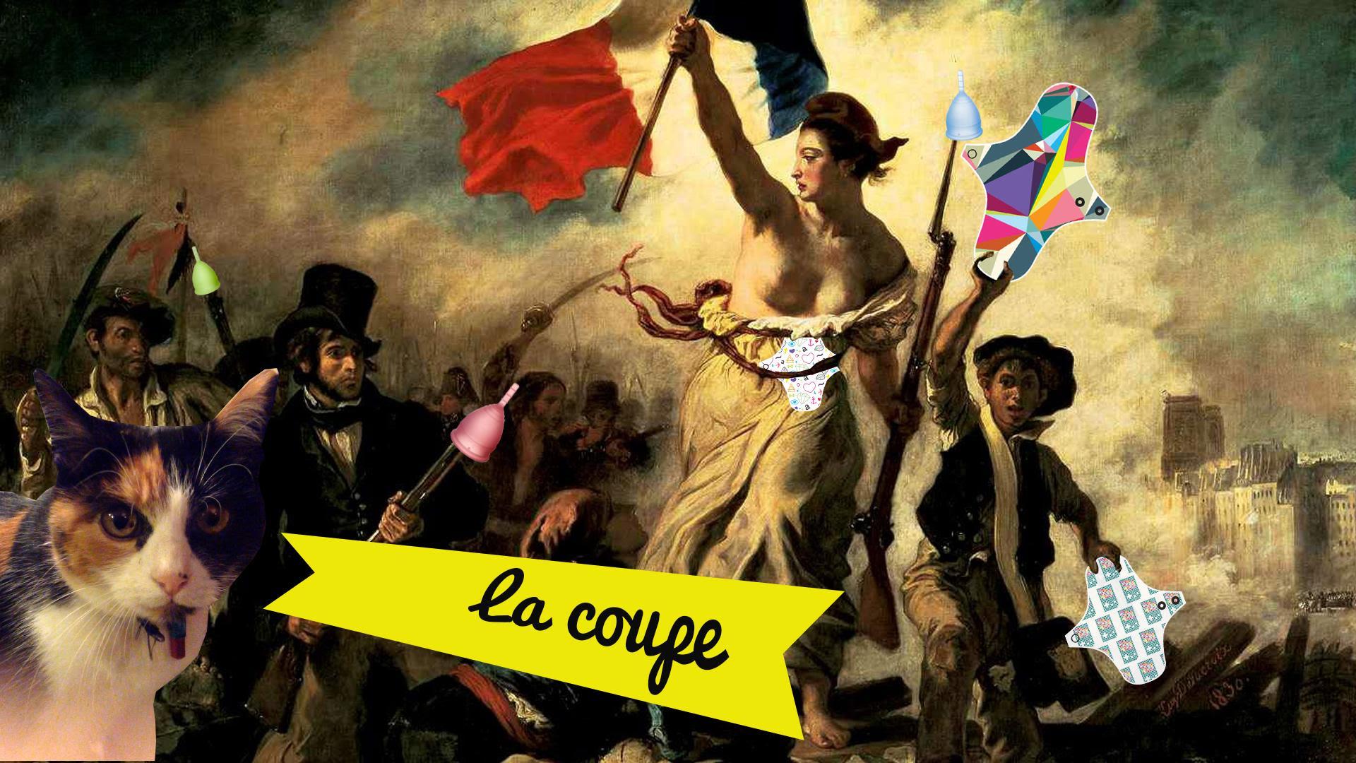 """""""La liberté guidant le peuple"""" de Delacroix détourné avec des protections hygiéniques lavables"""