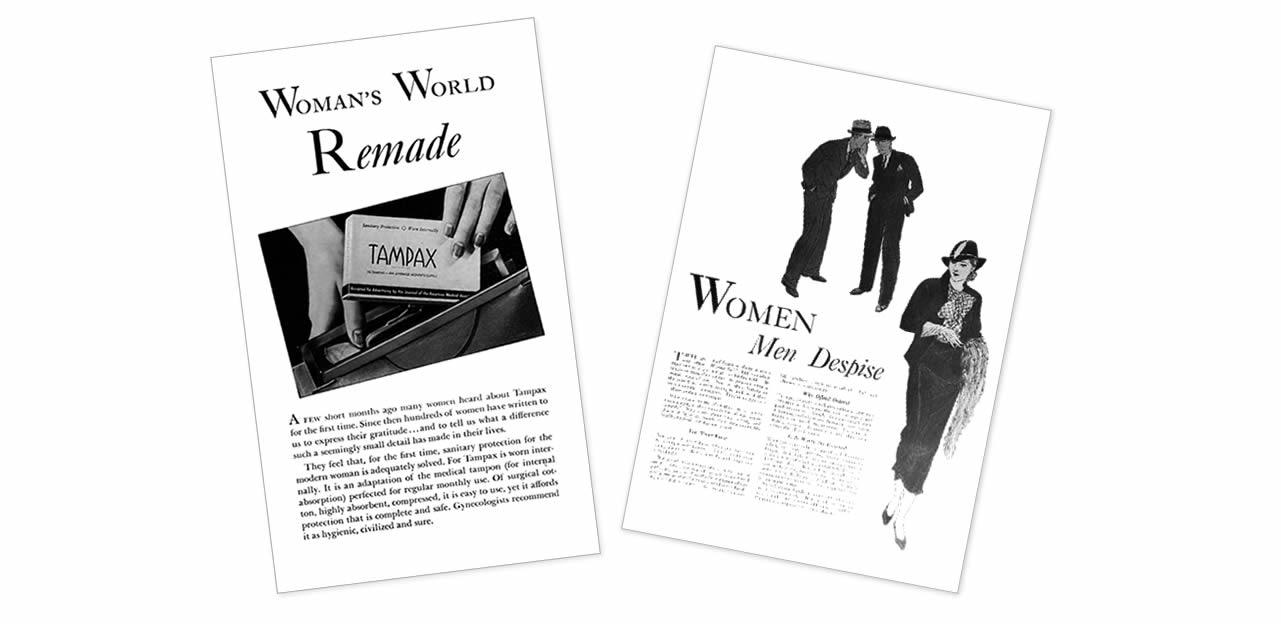 Les protections hygiéniques dans la publicité avant 1940