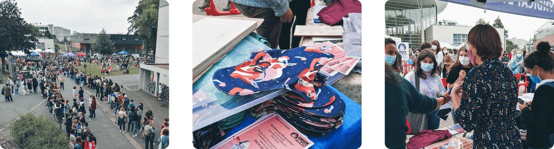 Photos de la distribution de protections périodiques à Rennes 2