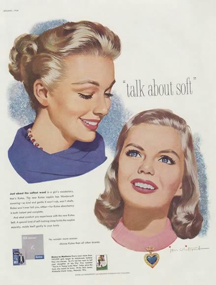 La pub et les protections périodiques de 1940 à 1950: le glamour