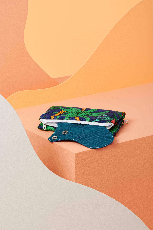 sac de transport pour serviettes hygiéniques lavables imprimé palmier - serviette lagon