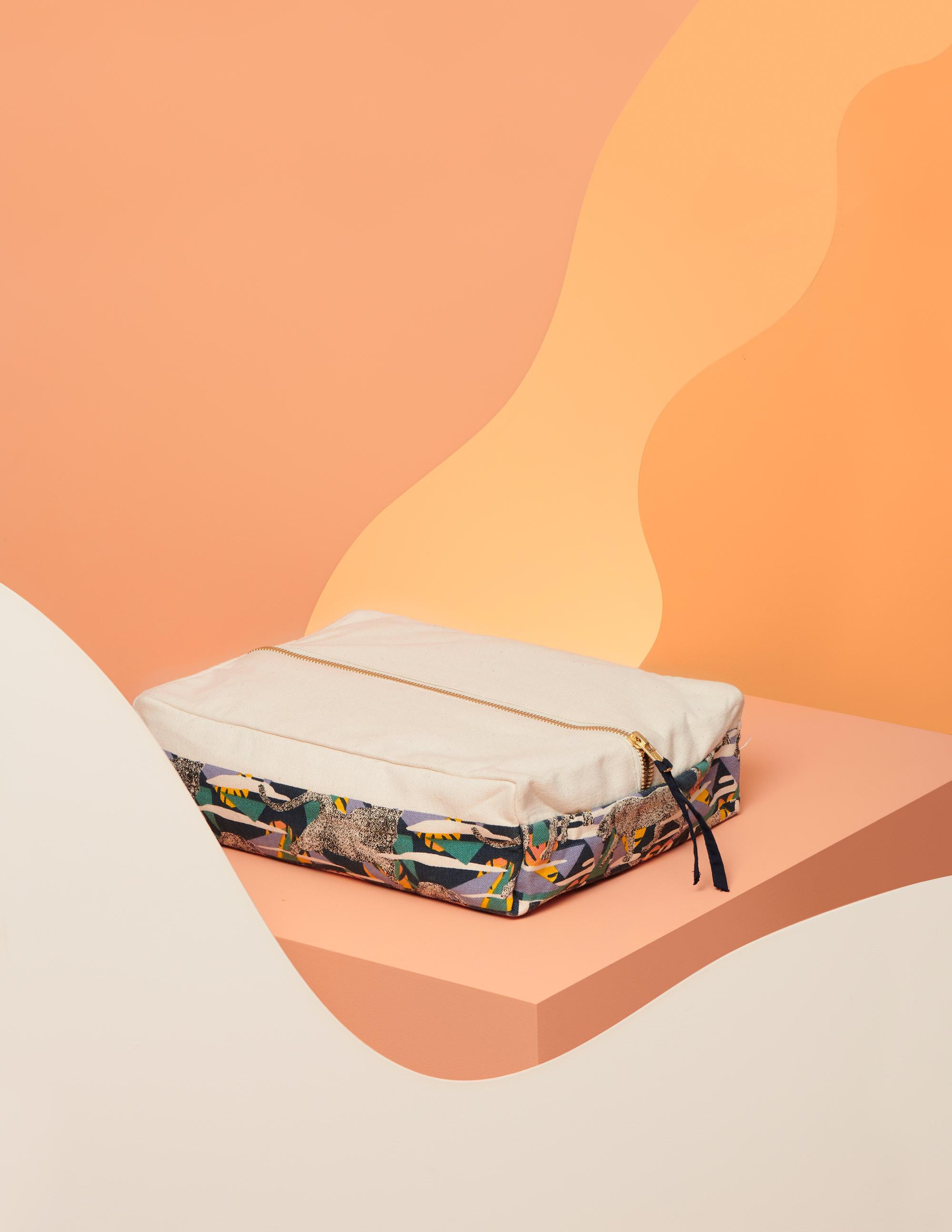pochette de rangement pour serviettes hygiéniques lavables en coton bio motif léopard