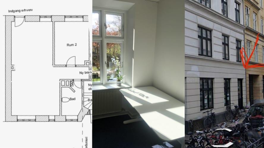 Ateliér/kontorfællesskab på Vesterbro, op til 4 pladser