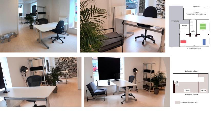 Kontorfællesskab med eget stort udstillingsvindue og tilhørende værksted/fotostudio. 3 min fra FORUM