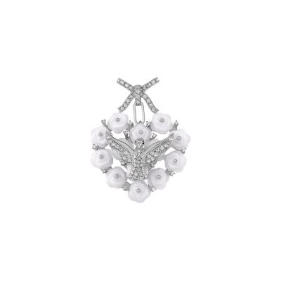 Pingente Espírito Santo ouro branco, pérolas e diamantes