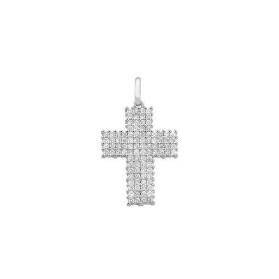 Pingente cruz ouro branco e zircônias