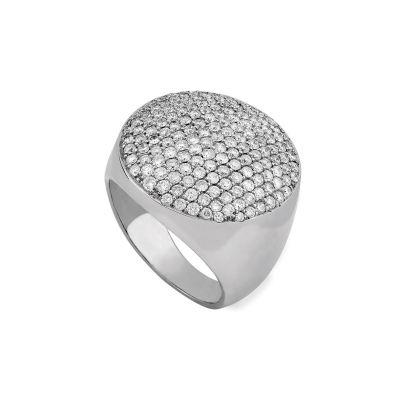 Anel pavê ouro branco com diamantes 150p