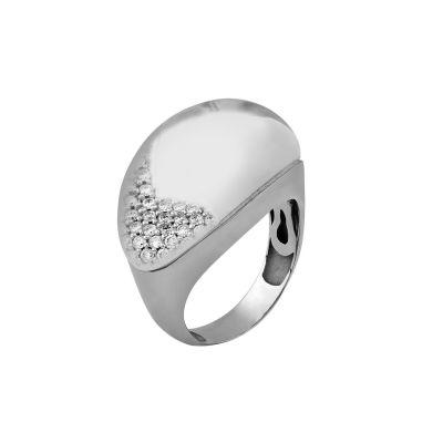 Anel ouro branco com cristal e diamantes