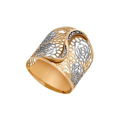 Anel em ouro amarelo com brilhantes e detalhes florais em ouro branco