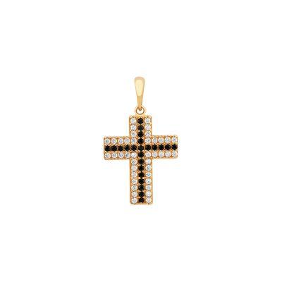 Pingente em cruz ouro amarelo e pedras