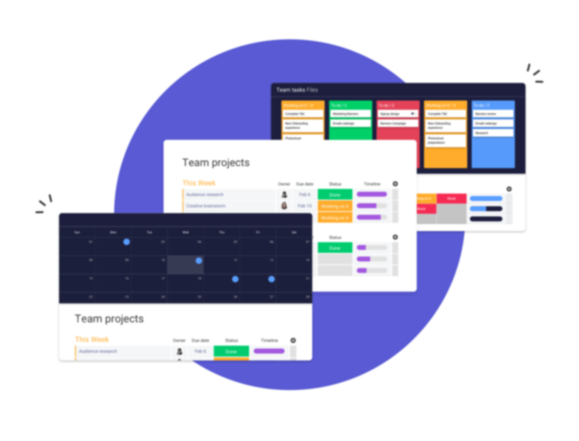 3 boards with kanban, team projects and calendar