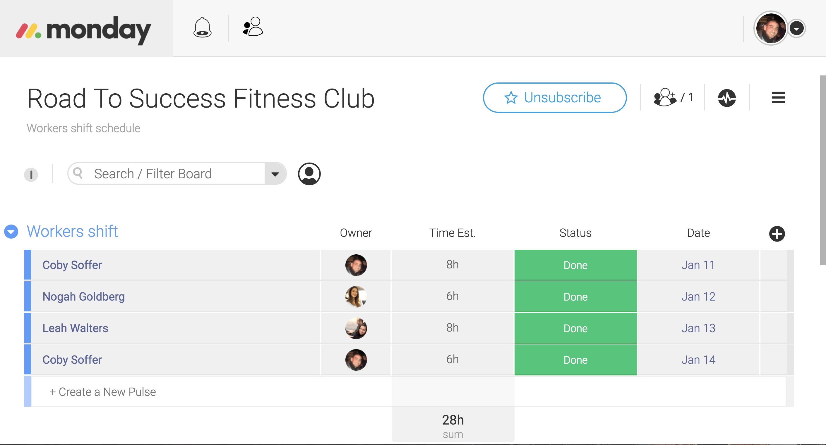 Fitness Employee Shifts template