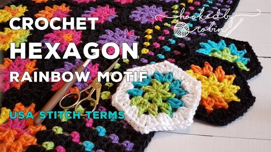 Create your own Crochet Rainbow Hexagon Motif Blanket