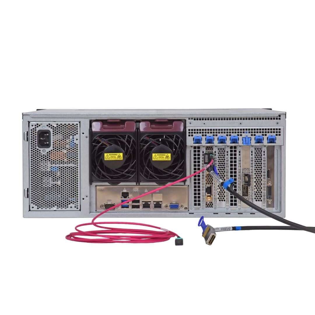 high-speed network recorder DDR7000-R-100G back side with connectors