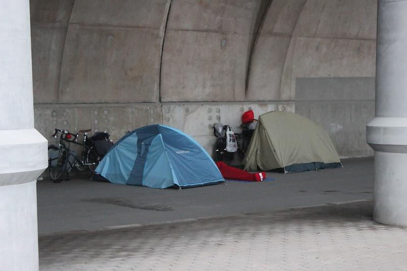 北防波堤ドームでの寝床 その2