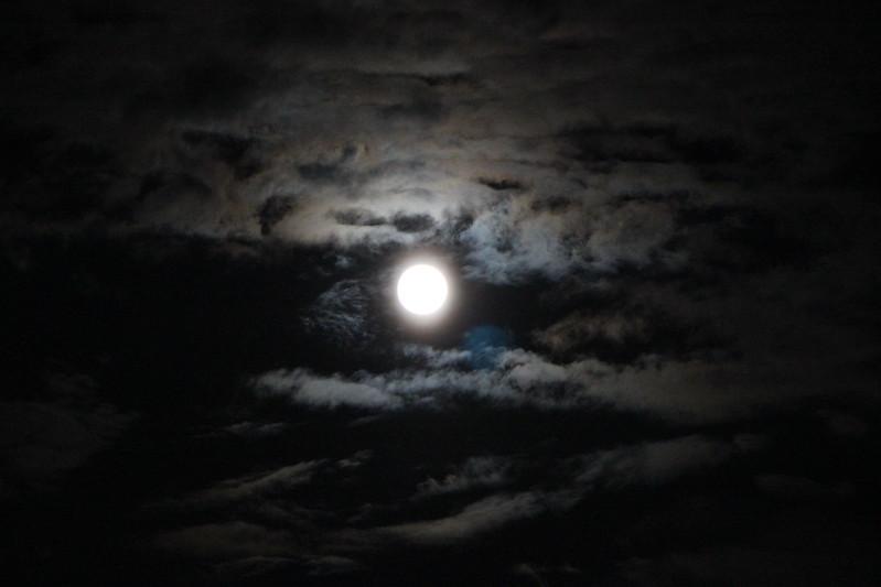 北防波堤ドームから見える月