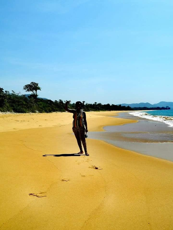 person on the beach in Sierra Leone
