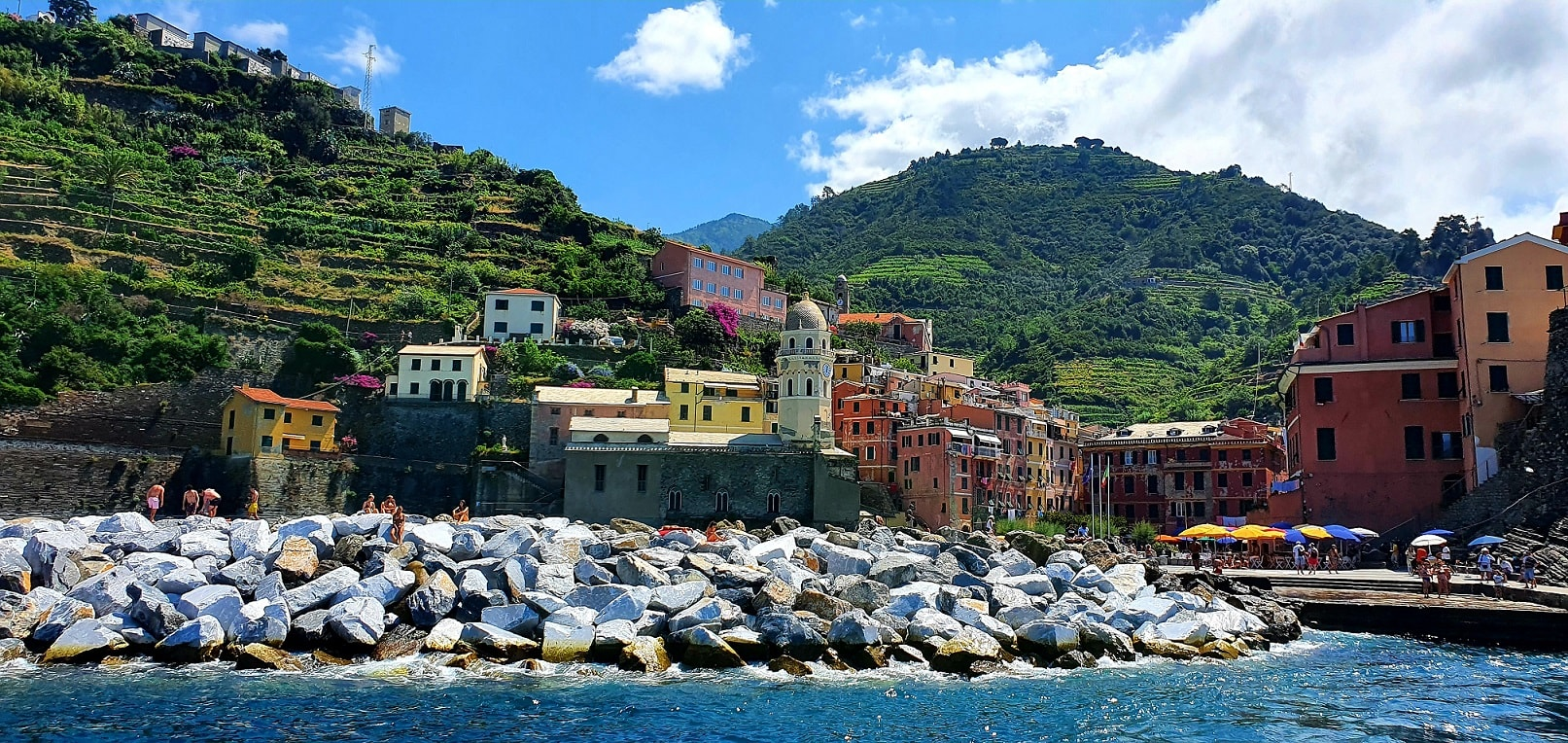 view of Vernazza from a boat