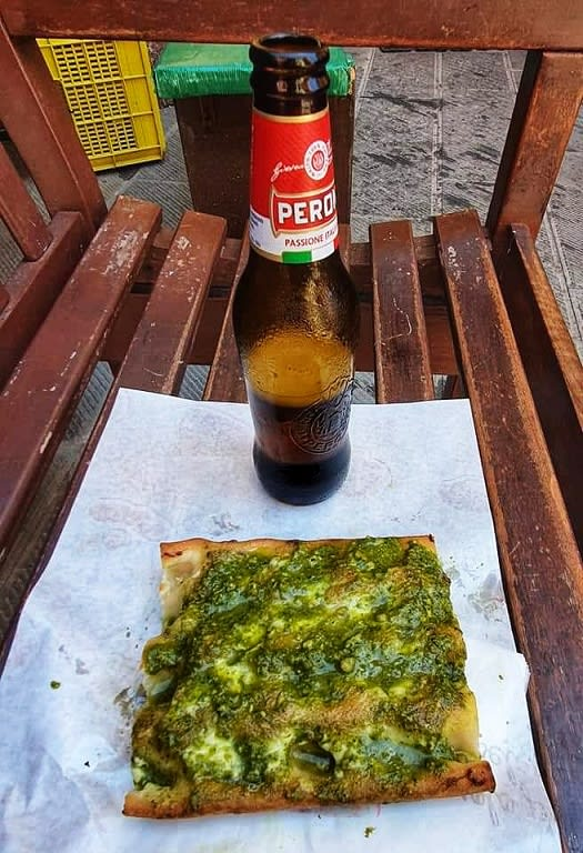 refueling with pesto focaccia and beer
