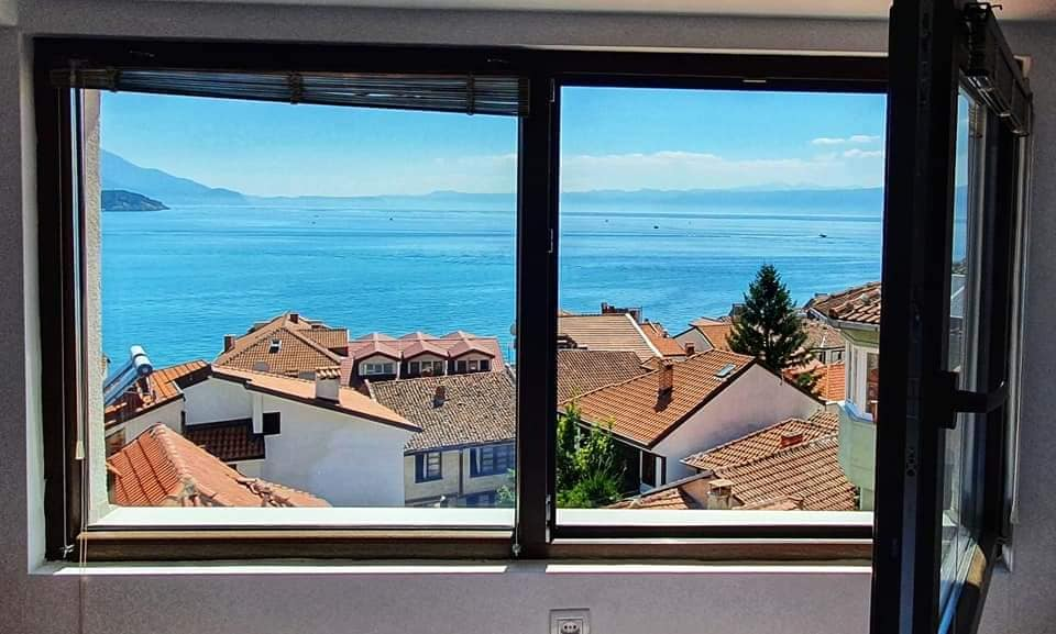 view of lake ohrid from bedroom window