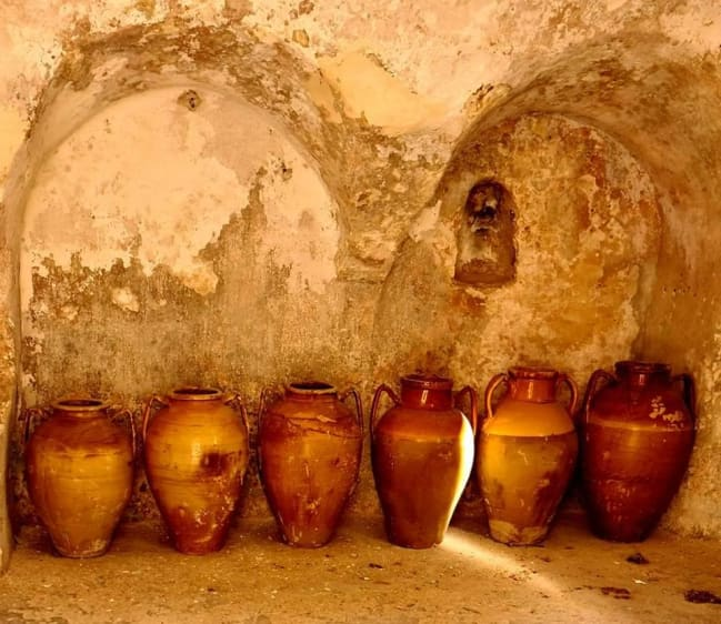 wine amphoras at fortress