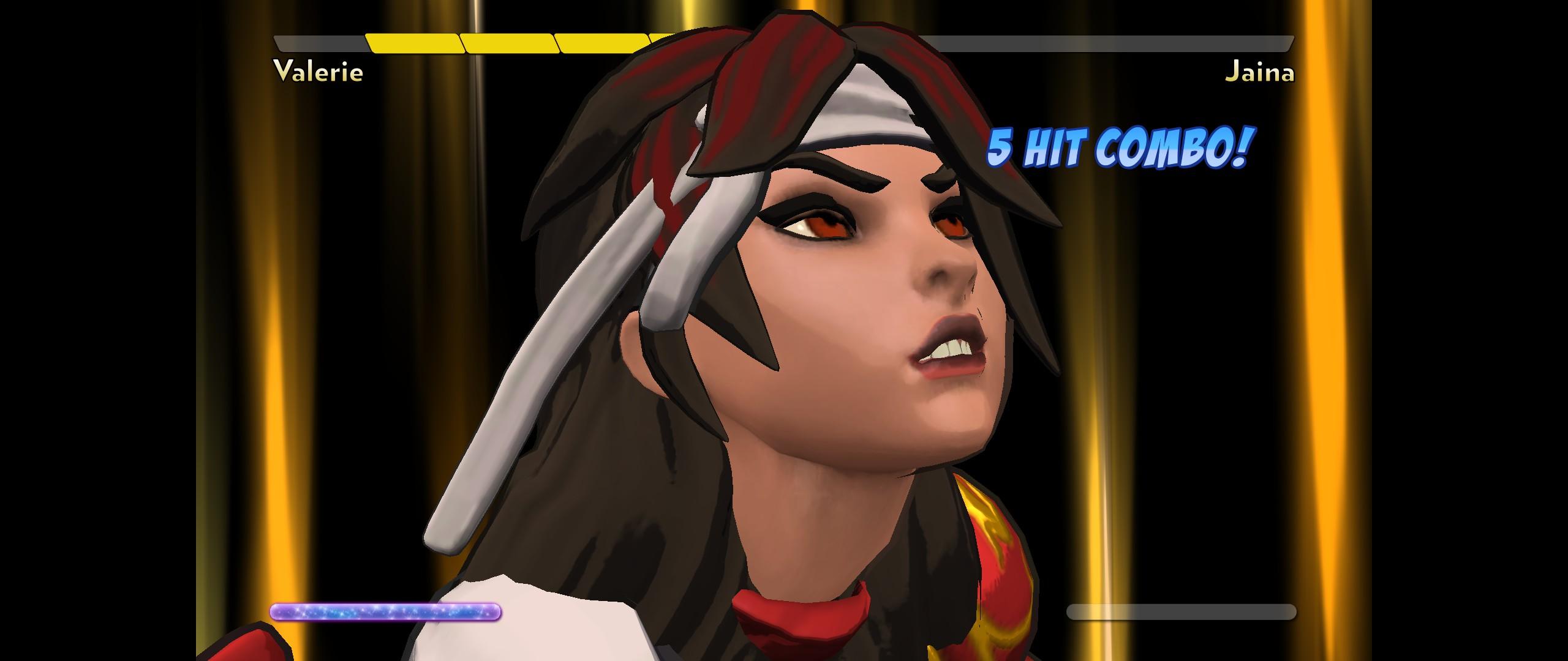 Valerie gets a 5 hit combo in Fantasy Strike