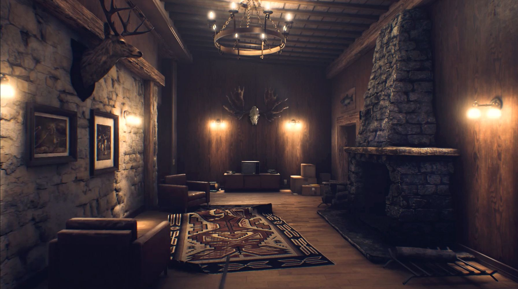 A room with taxidermy and a fire place
