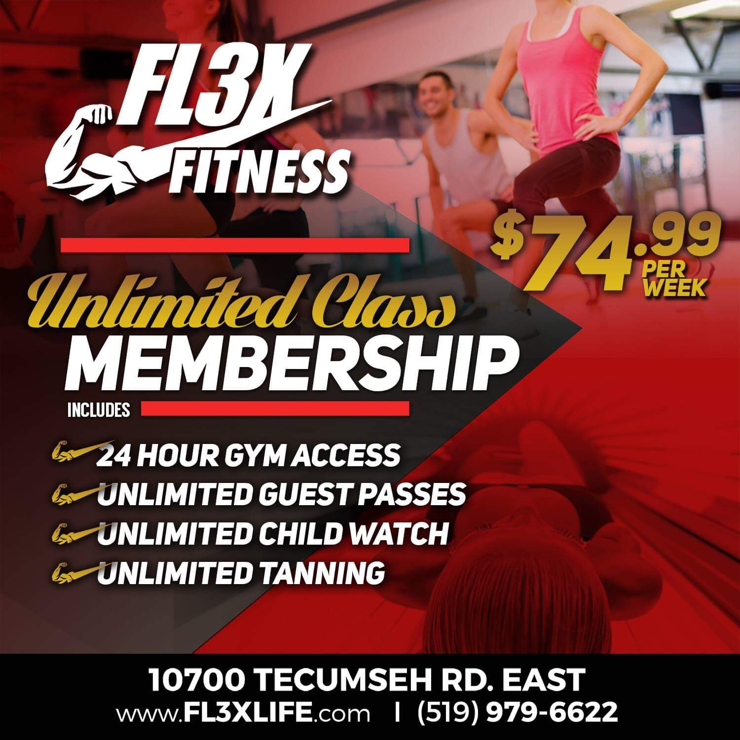 Unlimited Class Membership - $74.99 - Includes 24 hour gym access, unlimited guest passes, unlimited child watch, unlimited tanning