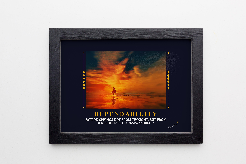 Dependability Man on Horse Framed Poster