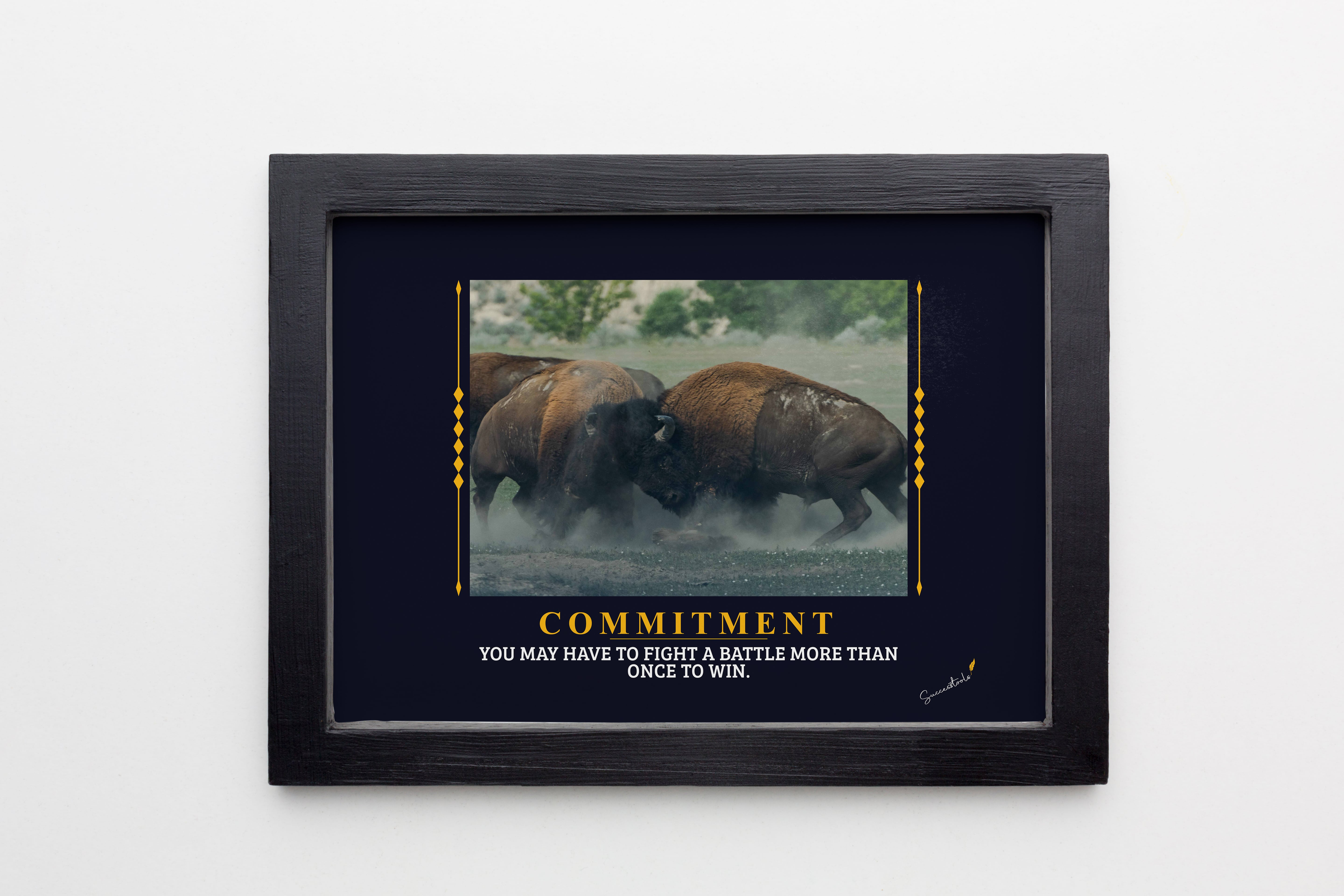 Charging Buffalo Commitment Framed Poster