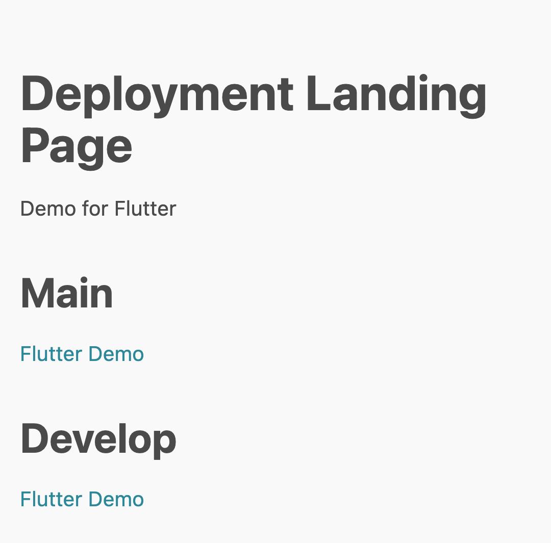 Deployment Landing Page